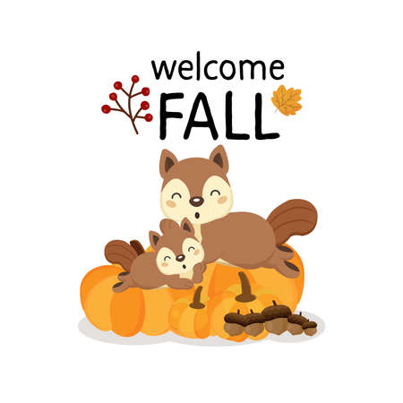 Welcome Fall  with cute forest squirrels in cartoon style.