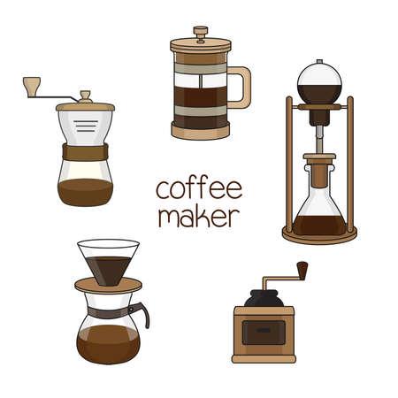 Set of coffee maker illustration.
