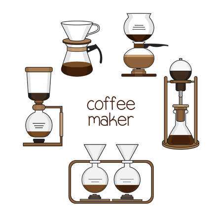 Set of coffee maker vector illustration.