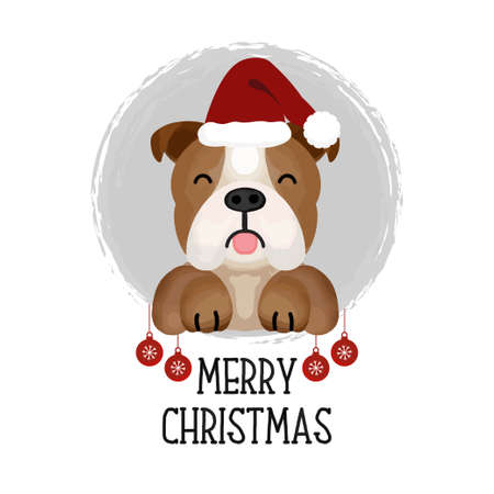 Merry Christmas card. Funny Dog in Christmas hat.