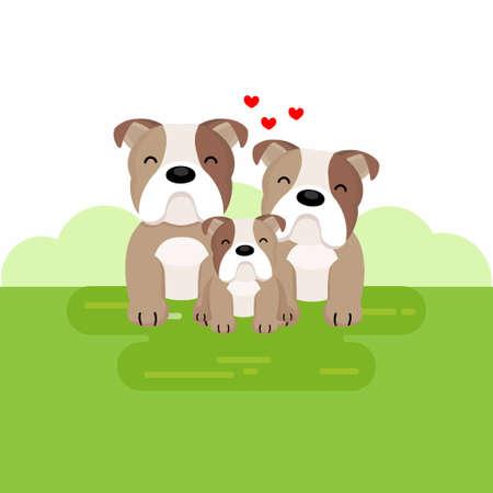 Happy cute bulldog family cartoon.
