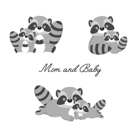Conjunto de pequeño mapache y madre. Dibujos animados de animales del bosque.