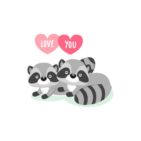 Happy Valentine's Day greeting card with cute couple raccoons in love. Foto de archivo - 132175722