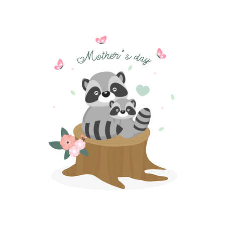 Happy Mothers day card. Mother raccoon hugging her baby. Illustration