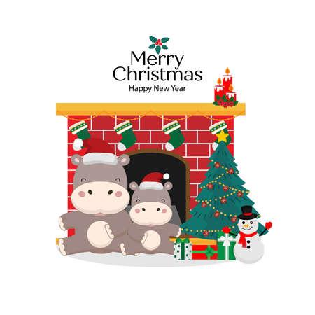 Merry Christmas and Happy New Year card. Cute Hippo in santa hat cartoon. Ilustracja
