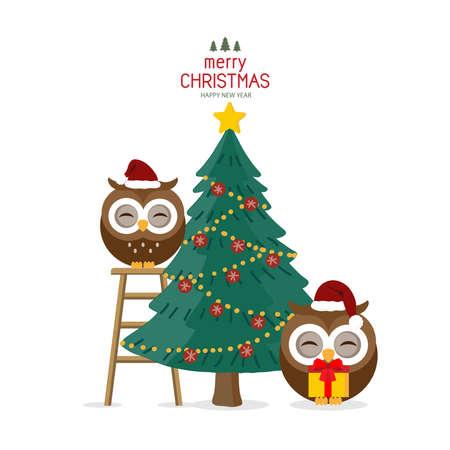 Merry Christmas and Happy New Year card. Cute owl cartoon.