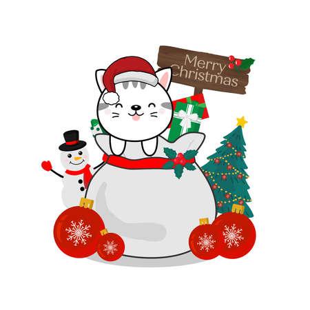 Merry Christmas greeting card. Little Cat on gift bag. Stock Illustratie