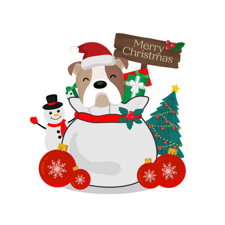 Merry Christmas greeting card. Puppy on gift bag.