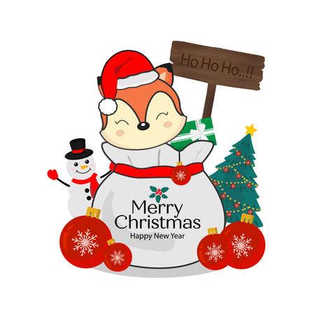 Merry Christmas greeting card. Little fox on gift bag. Stock Illustratie