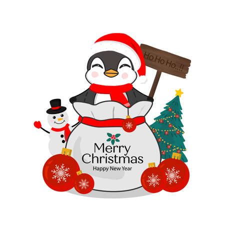 Merry Christmas greeting card. Little Penguin on gift bag. Zdjęcie Seryjne - 132615375