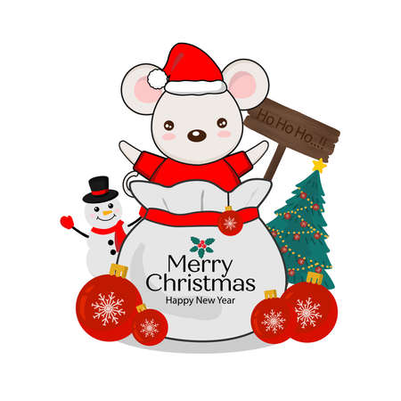Merry Christmas greeting card. Little Mouse on gift bag.