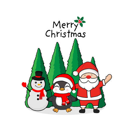 Merry Christmas Greeting Card. Penguin,  snowman and Santa claus.