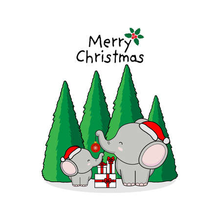 Merry Christmas Greeting Card with Cute Elephants.