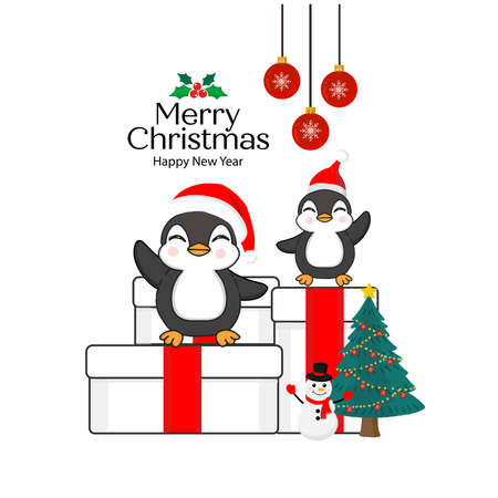 Merry Christmas Greeting Card. Penguins sitting on a gift box. Zdjęcie Seryjne - 132615309
