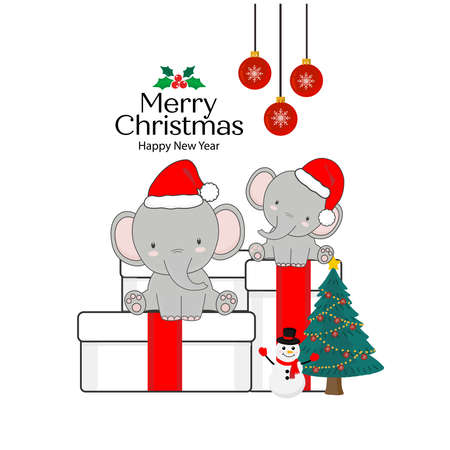 Merry Christmas Greeting Card. Elephants sitting on a gift box.