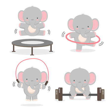 Funny elephant doing exercise. Fitness and healthy lifestyle.
