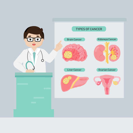 Doctor introduce types of  cancer flat vector illustration.