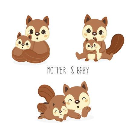 Squirrel mom and baby. Vector illustration. Stock Illustratie