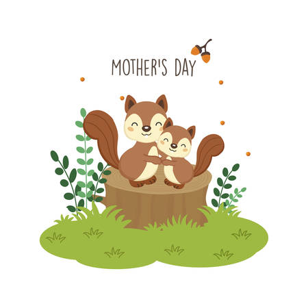Happy Mother's day card. Mother squirrel hugging her baby.