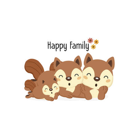 Happy squirrel family with a little squirrel.