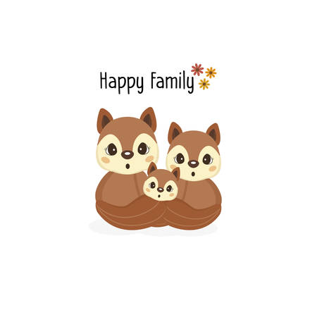 Happy squirrel family with a little squirrel in the middle. Stock Illustratie