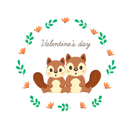 Happy Valentine's Day greeting card with cute squirrels in love.
