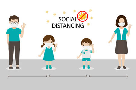 Social Distancing, People keeping distance for infection risk and disease.