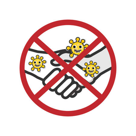 Stop shake hands for COVID-19 prevention concept vector illustration.