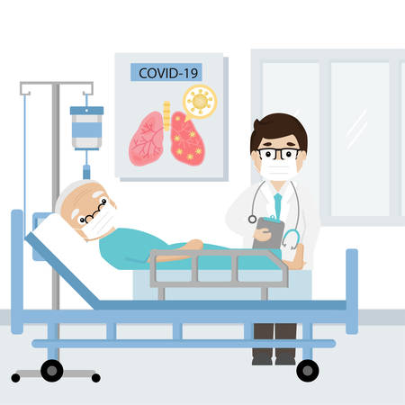 Doctor and Senior patient infected with covid-19 virus on hospital bed. Vector illustration. Stock Illustratie