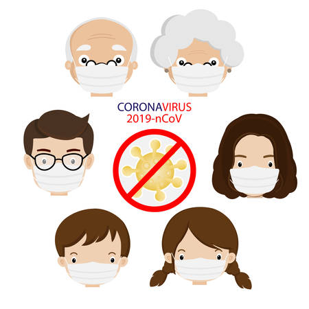 Family wearing a surgical mask for prevent virus Covid-19.