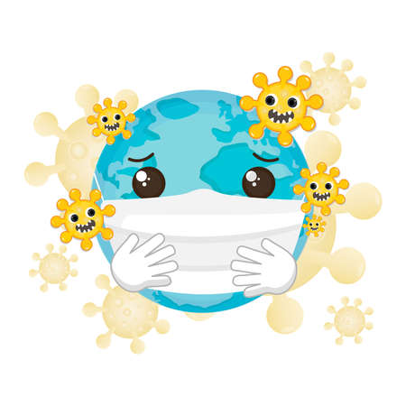 World Wearing surgical protection mask protect Covid-19 virus. Stock Illustratie