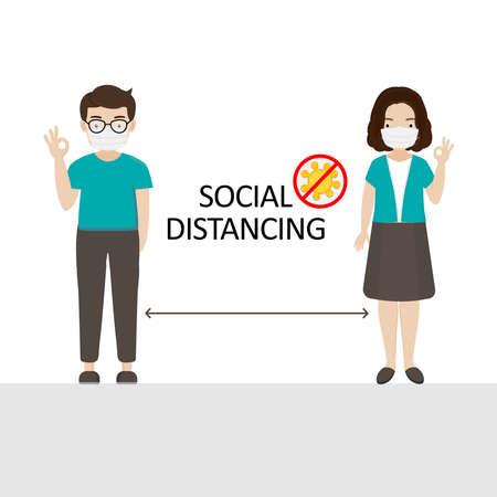 Social distancing. Space between people to avoid spreading COVID-19 Virus. Stock Illustratie