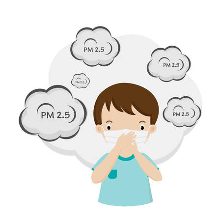 Cartoon Little boy wearing mask for protect pm2.5.