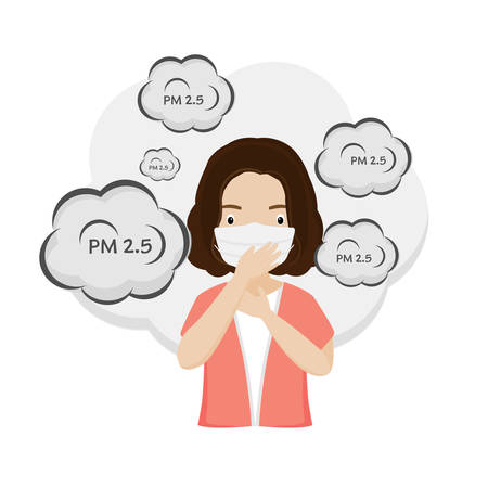 Woman wearing medical masks to prevent PM2.5.Vector illustration.