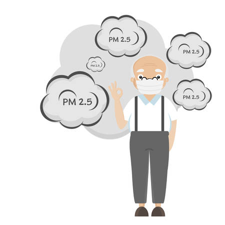 Cartoon Senior People wearing mask for protect pm2.5.