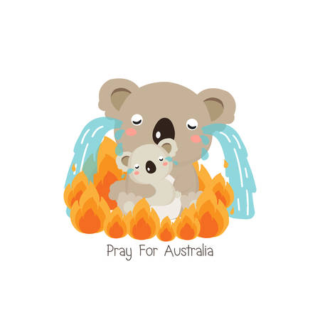 Pray for Australia. Koala bear and her baby crying among forest fire. Cartoon flat illustration