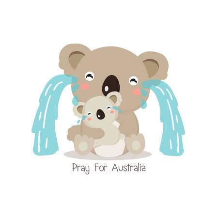 Pray for Australia. Koala bear and her baby crying vector illustration.