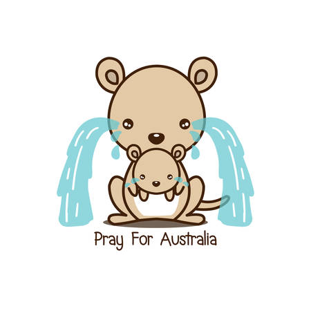 Pray for Australia. Kangaroo and her baby crying vector illustration.