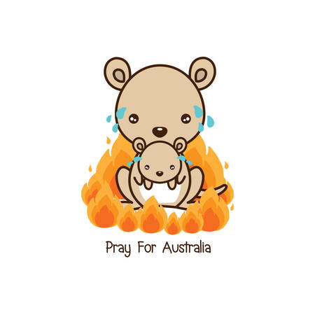 Pray for Australia. Kangaroo and her baby crying among forest fire. Cartoon flat illustration Stock Illustratie