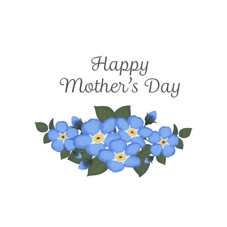 Happy Mothers Day. Hand-drawn card with flower. Stock Illustratie
