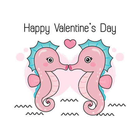 Cute sea-horse couple in love in cartoon style for Happy greeting card.
