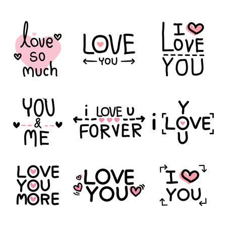 Valentines day lettering set. Calligraphy postcard or poster graphic design lettering element.