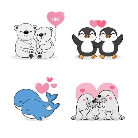Cute greeting card for valentine's day with couple animal cartoon.