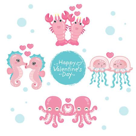 Funny ocean animals illustrations for Valentine's day card. Stock Illustratie