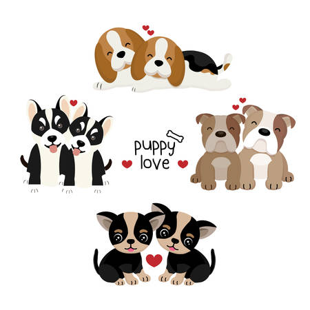 Set of illustration with couple of puppy in love.