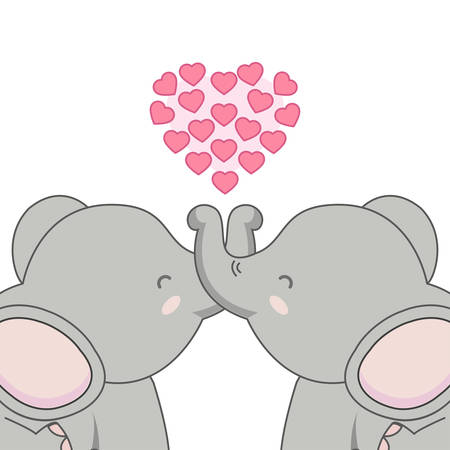 Cute card with loving couple of elephant. Stock Illustratie
