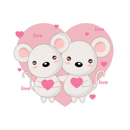 Happy Valentine's day postcard with loving couple of mouse.