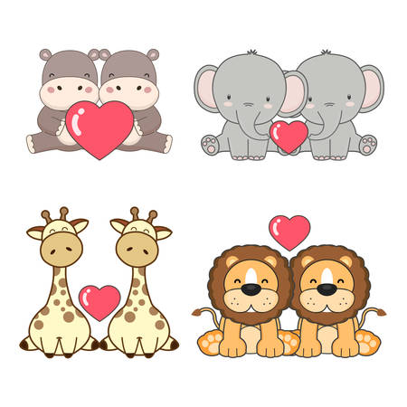 Cute animals couples in love collection. Vector illustration.
