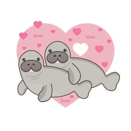 Cute card with loving couple of manatee.