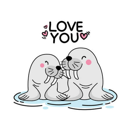 Valentines day greeting card. Cute couple seal hand drawn cartoon animal character.